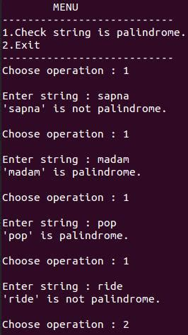 Check string is palindrome using stack - C Program