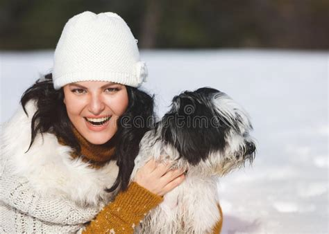 Happy Woman In Cute Animal Hat In Snow Stock Image - Image
