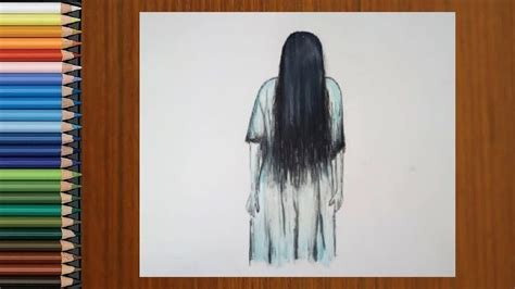 Scary Drawings - How To Draw a Ghost Girl Scary Step by